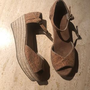 TOMS Cork Wedge Peep Toe Sandals 8